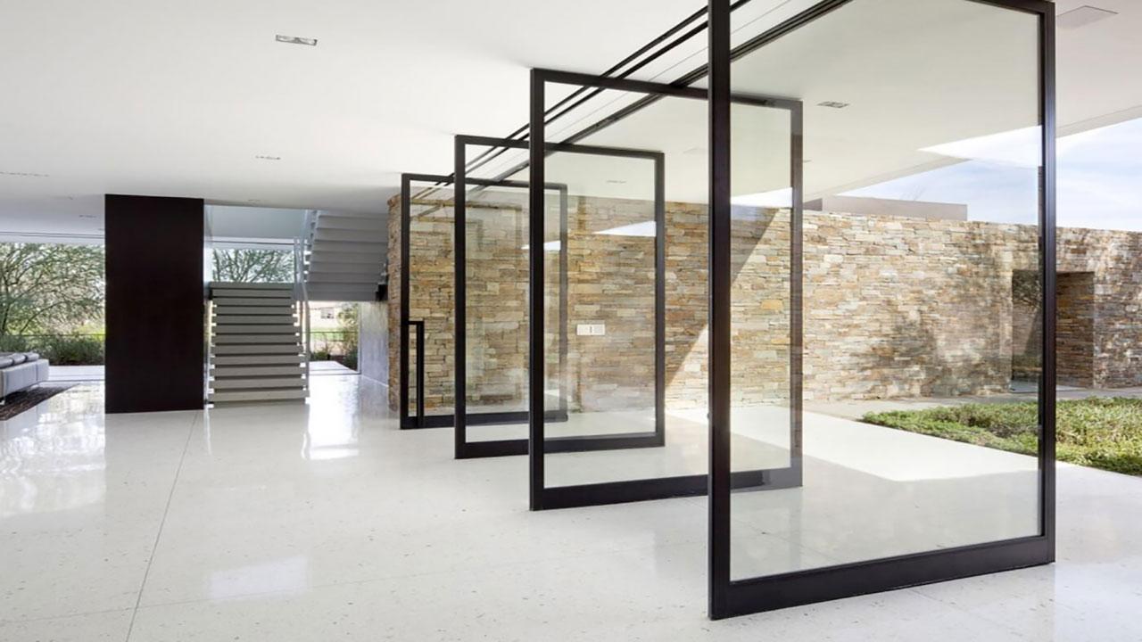 درب شیشه ای مدرن محوری
